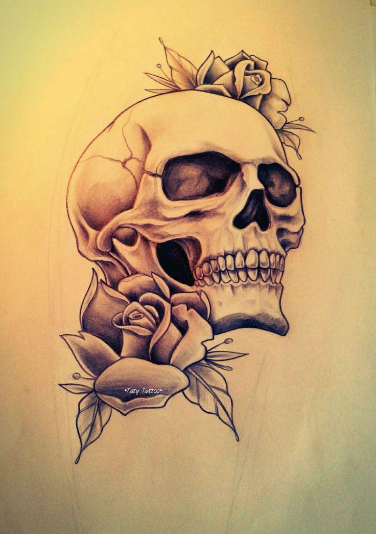Skull roses made by Taty Tattoo   teschio rose tattoo tatuggio sketch bianco e nero black work black and white