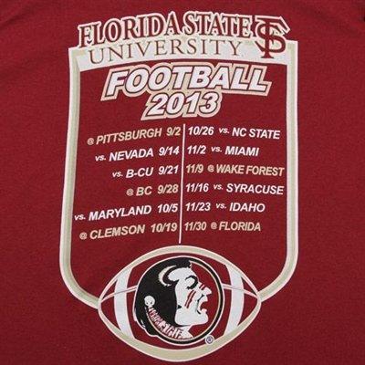 Florida State Seminoles (FSU) 2013 Football Schedule T-Shirt - Garnet
