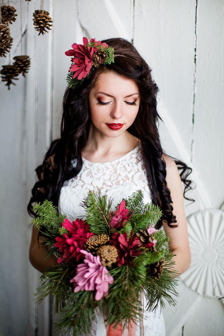 Образ невесты, букет невесты, шишки, сосна.