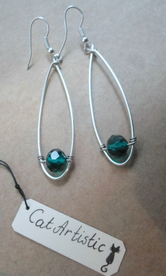 Handmade Large Drop Earrings with Crystals or by CatArtistic