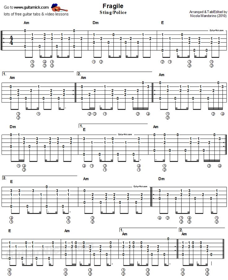 Acoustic Guitar Chords: Acoustic Fingerstyle Guitar Tab