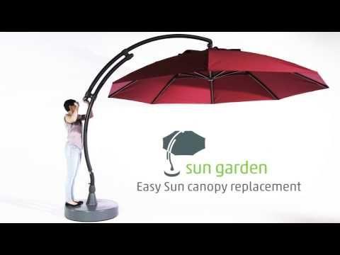 (58) Sun Garden - Easy Sun Parasol canopy replacement - YouTube
