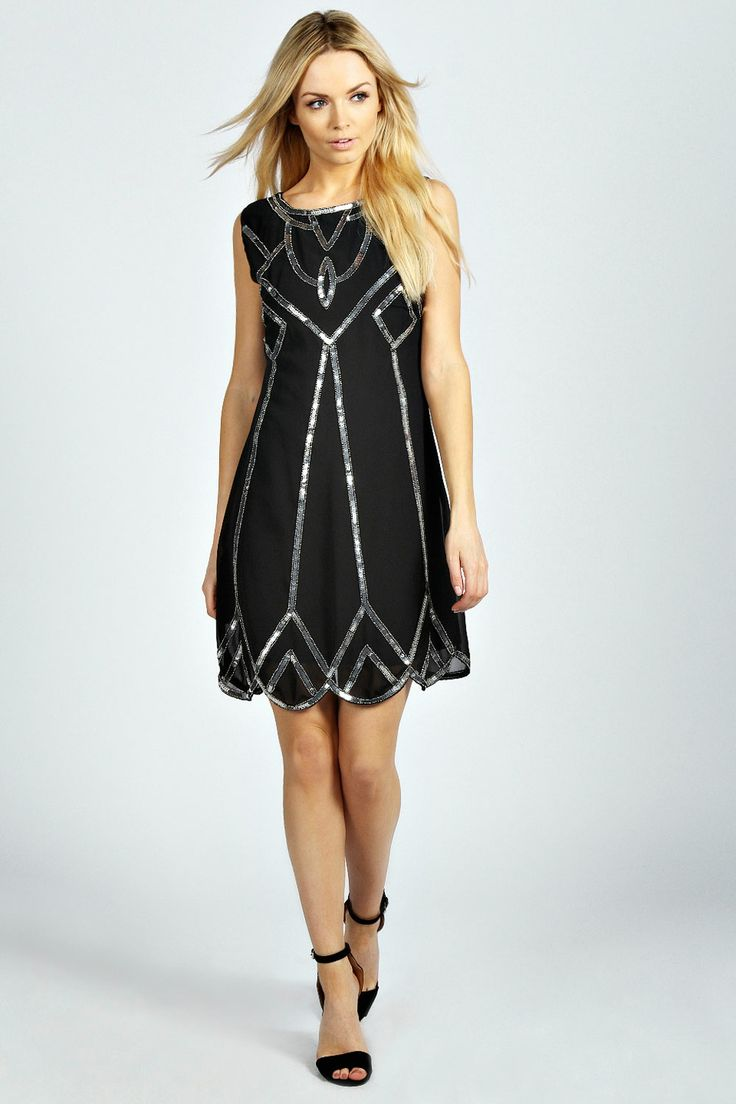 Art Deco 1920s Style Dress - Lucy Deco Embellished Scalloped Shift Dress - black $65.00
