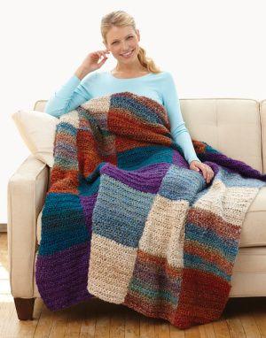 A simple, yet beautiful half double crochet afghan made in Homespun, an American-made yarn.