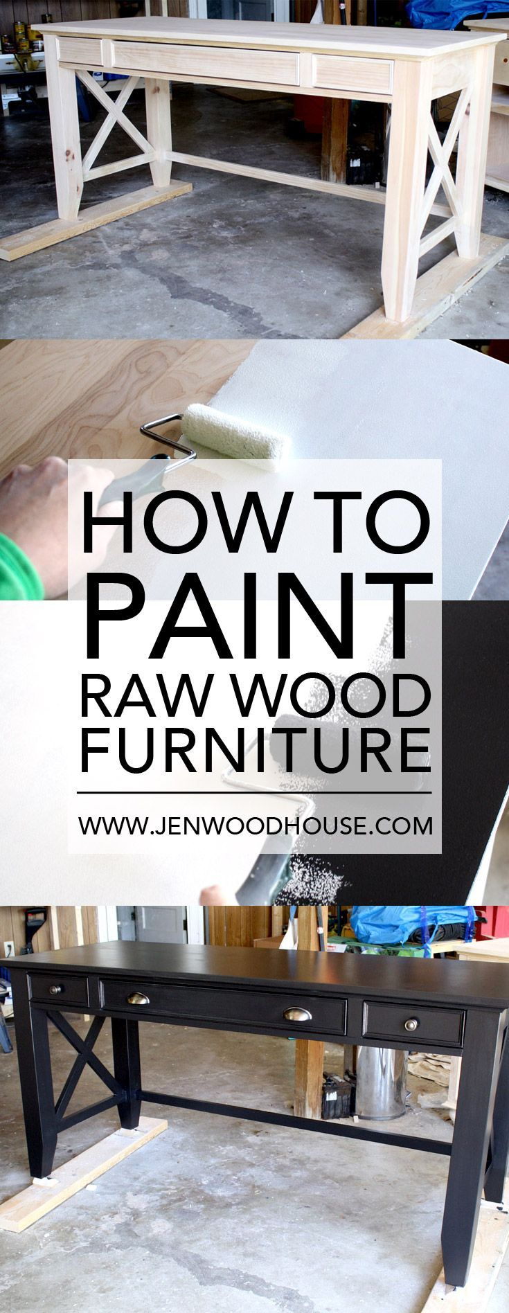 Great tutorial on how to paint raw wood furniture. She built the desk from scratch and gives you free plans and tutorial too!