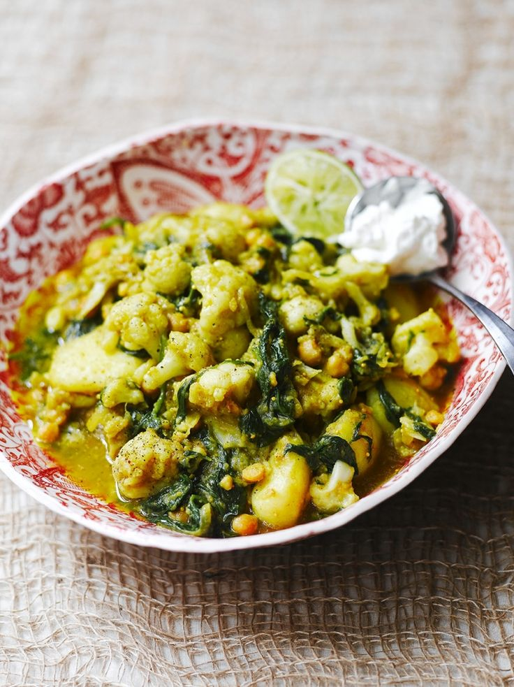 Curried cauliflower, potatoes, chickpeas & spinach - Jamie Oliver