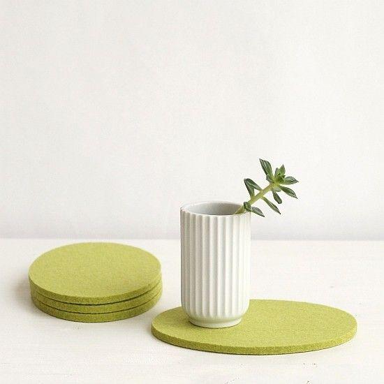 Ovaler Filzuntersetzer hellgrün