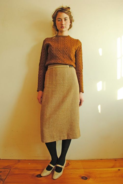 Vintage Wool Pencil Skirt in Bronze Herringbone from The Speckled Perch.