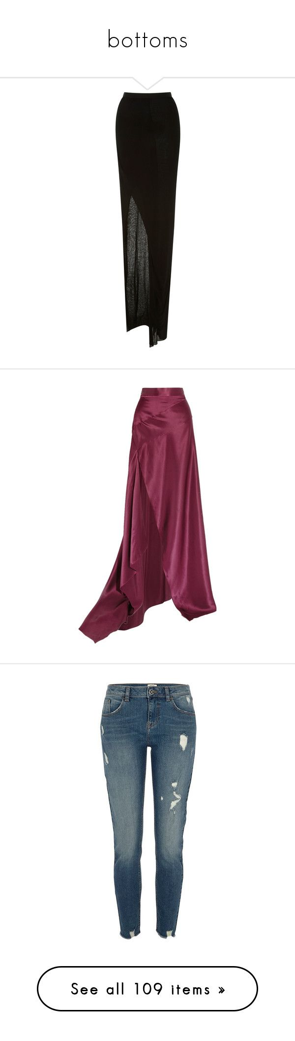"""""""bottoms"""" by shayshayv ❤ liked on Polyvore featuring skirts, black, long leather skirt, long skirts, maxi skirt jersey, maxi skirts, real leather skirt, merlot, long purple skirt and asymmetrical maxi skirt"""