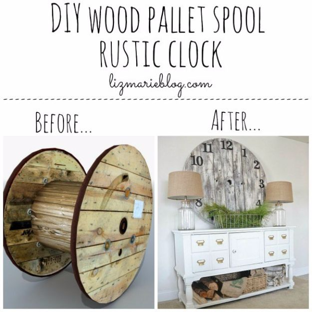 DIY Farmhouse Style Decor Ideas - DIY Wood Pallet Spool Rustic Clock - Rustic Ideas for Furniture, Paint Colors, Farm House Decoration for Living Room, Kitchen and Bedroom http://diyjoy.com/diy-farmhouse-decor-ideas