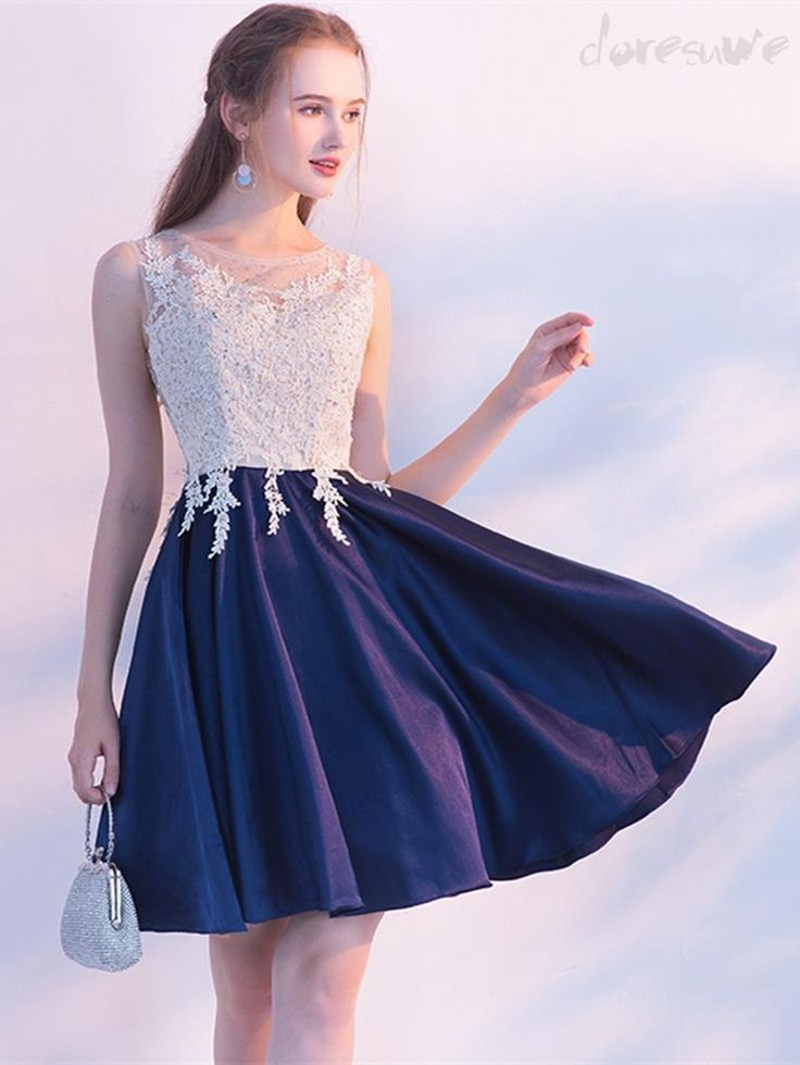 New round neck No slip beads Ornament applique color switching Adult cute little party dress 13014313 - Popular Second-Order Dresses - Doresuwe.Com