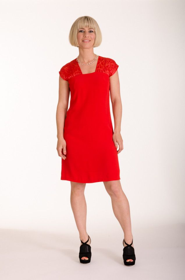Poppy viscose dress with contrast flame mosaic for a simple summer statement | Made in New Zealand by Moa