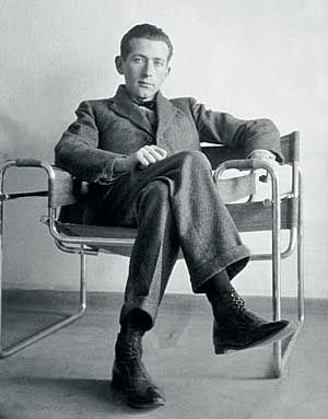 Marcel Breuer in his Wassily Chair, also known as the Model B3 chair, was designed by Marcel Breuer in 1925-1926 while he was the head of the cabinet-making workshop at the Bauhaus, in Dessau, Germany.