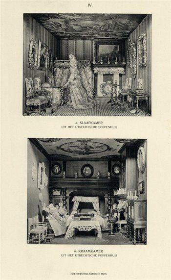 Afbeelding van de slaapkamer met de vrouw des huizes voor de toilettafel (boven) en de kraamkamer met kraamvrouw, min met kind op schoot en visite (onder) in het 17e eeuwse poppenhuis, onderdeel van de collectie van het Stedelijk Museum van Oudheden te Utrecht, gevestigd in het huis Het Hogeland (Museumlaan 2) te Utrecht, 1909