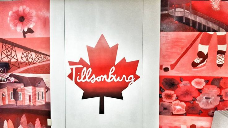 Flag #137 of 150 taken of a mural inside the Tillsonburg Senior Centre. Mural by the Glendale High school Art Students. . . . . . #Art #tillsonburg #communitycentre #seniorcentre #painting #glendalehighschool #artstudents #mural #canadianflag
