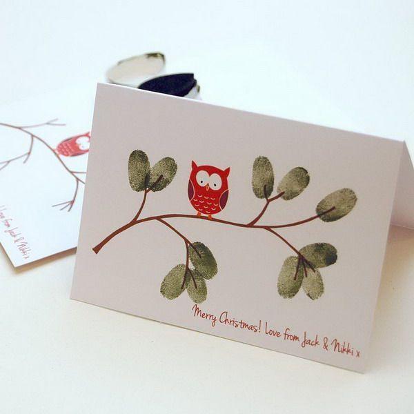 Christmas Owl Fingerprint Card, Creative Homemade Christmas Cards Showcase, http://hative.com/homemade-christmas-cards/,