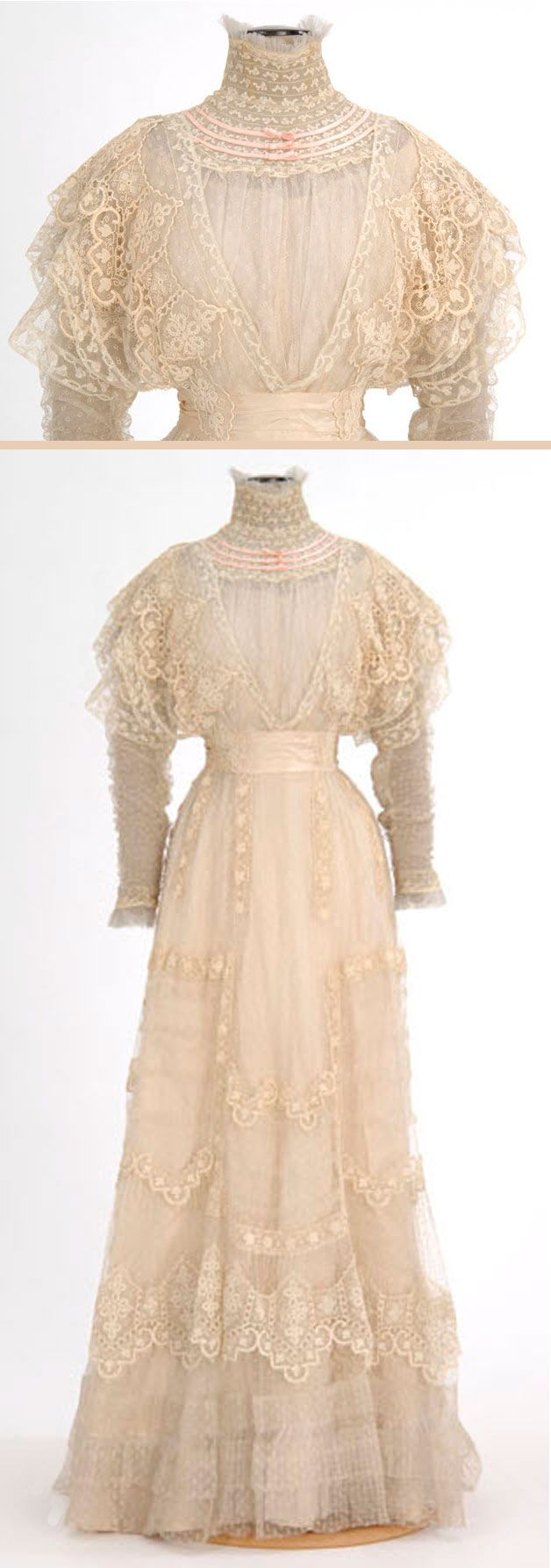 Circa 1900-1909 white lace summer dress by Mme. Rose H. Boyd, Minneapolis, MN, via Minnesota Historical Society.