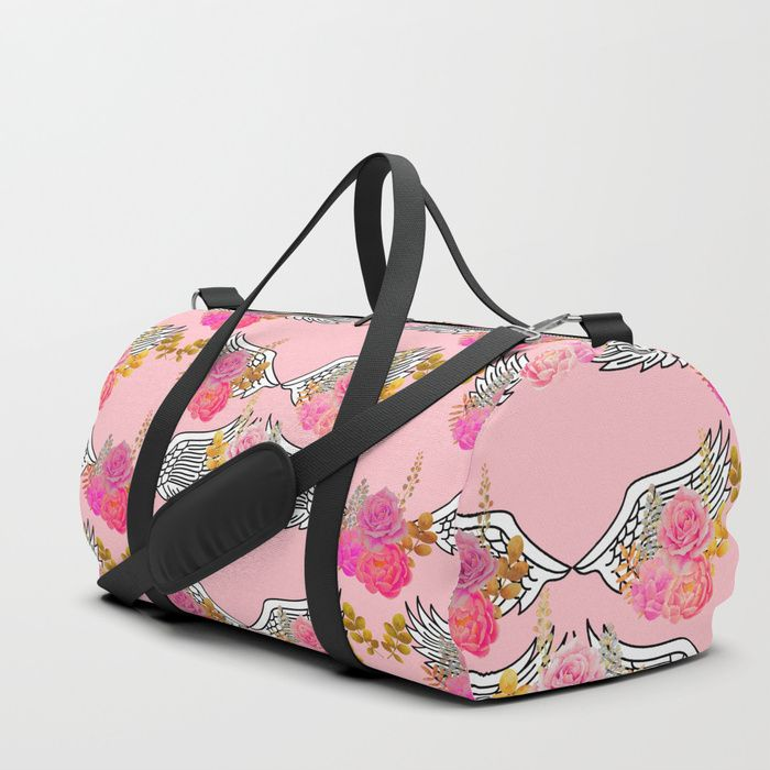 43132133a1b50b Wings and Roses Blush Pink duffle bag by © SilverPegasus for Society6,  accessories, bags