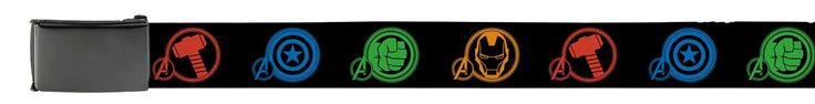 The Avengers unite for a sharp superhero belt. A green fist symbolizes the Hulk, a yellow face symbolizes Iron Man, a red hammer for Thor, and a blue shield for Captain America. The minimalist pattern repeats on a solid black background. The buckle and tip are also matte black. Fully adjustable up to 58 inches, it also comes with instructions to cut to fit if you want a more custom size. Simply pry off the buckle, and cut the fabric to the size you would like before replacing the buckle.