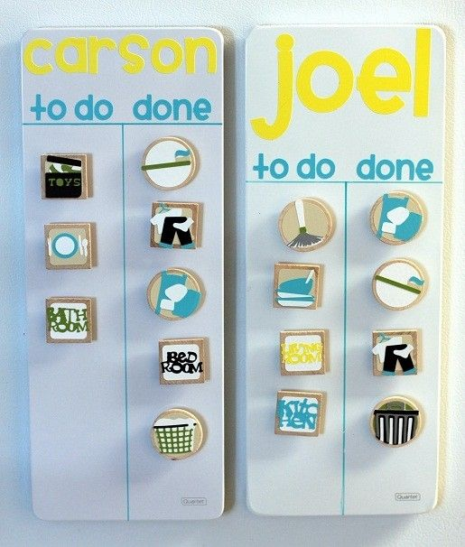 Kids Chore Chart - Magnetic board and Cricut letters