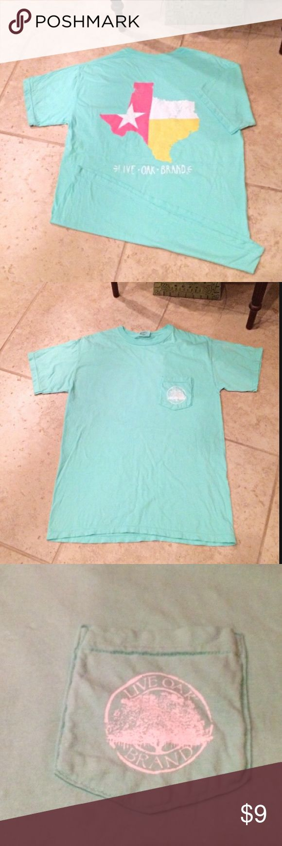 NWOT Live Oak Brand Texas Tee Mint colored roundneck tee with Texas outline on back. Pocket on front. Tops Tees - Short Sleeve