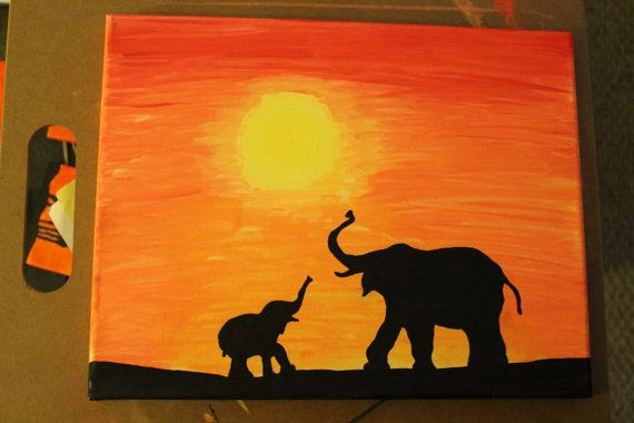 11x14 Elephant family at sunset: african safari series acrylic canvas painting. FOR SALE