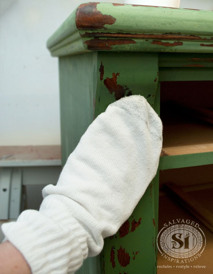 Use an old 100% cotton sock to apply furniture wax #tips