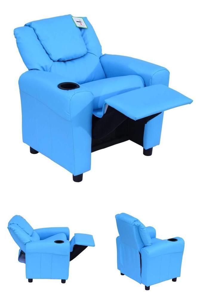 Child Recliner Chair Kids Blue Armchair Seat Room Cinema Sofa Cup