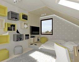 Pokój dla nastolatki na poddaszu - Duży pokój dziecka dla chłopca dla dziewczynki dla ucznia dla nastolatka, styl minimalistyczny - zdjęcie od Am Design Studio projektowania wnętrz