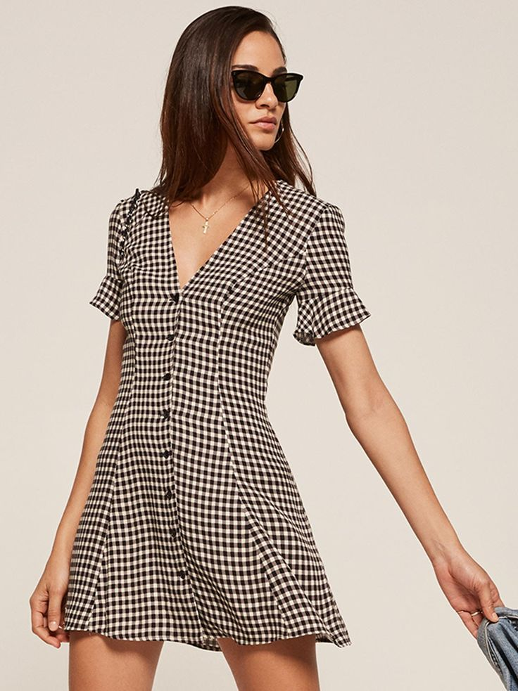 Dolce gingham button up mini dress Reformation