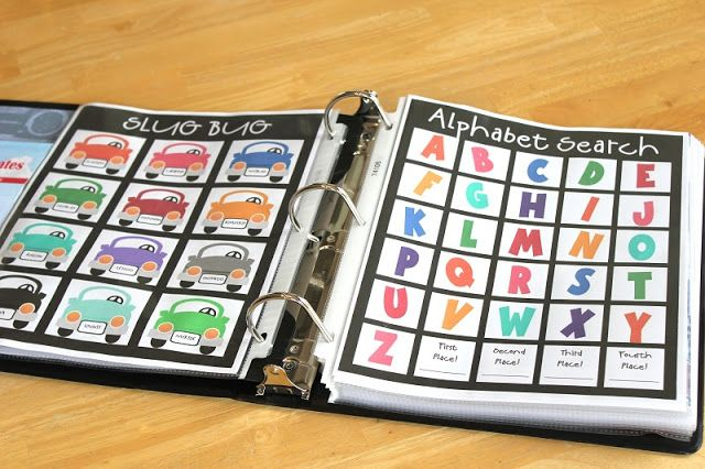 "Road Trip Binder: No child likes to be stuck in the backseat of a car for hours on end. This binder includes road trip itineraries, various road trip games such as Bingo and I Spy, and educational activities. Your child will surely be entertained throughout the whole trip and won't be pestering you with ""Are we there yet?!"" every five minutes."