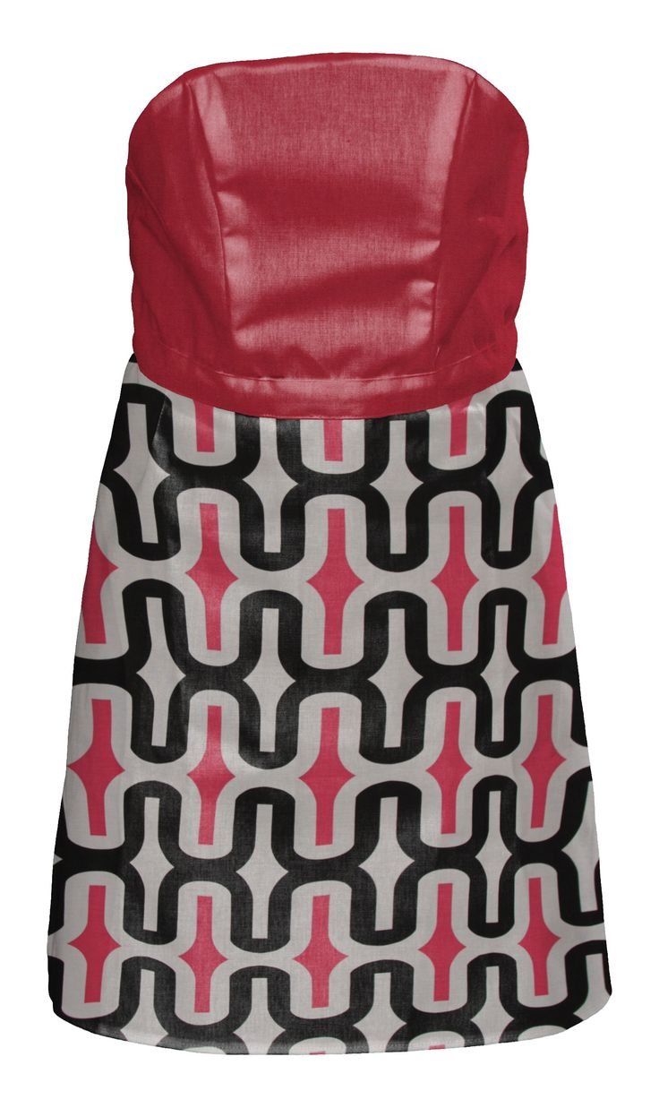 Mod with Pink Waist This design expresses your flirty side with this striking pink top and the eclectic leanings of the geometric modern print. Wow! You look great! This full-length apron looks like a 2-piece skirt and top.  #pink #apron #cotton #nostrings