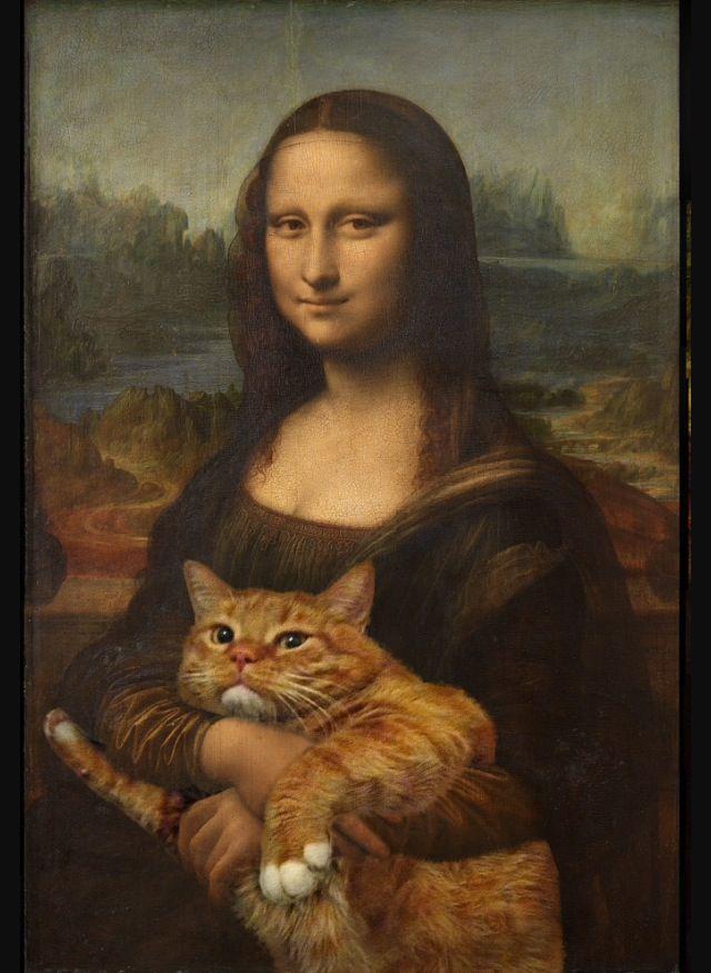 Kunstwerk inspiratie met kat. In dit schilderij zie je de Mona Lisa met een katje. Het leuke hieraan is dat de Mona Lisa een heel beroemd kunstwerk is over de hele wereld. Nu veranderen ze het kunstwerk door er een kat bij te plaatsen.