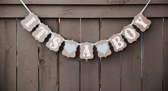 Celebrazione speciale, è una ragazza, è una ghirlanda di stamina rustico del ragazzo. Banner di annunci in nascita. Prima doccia giorno casa / baby.