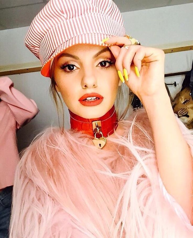Beautiful singer Alexandra Stan wearing our red crocodile leather chocker in her latest video