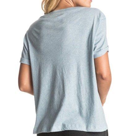 T-Shirt Roxy Minor Swing - Haut de sport pour femme roxy - Boutique Cottay Shop - couleur gris bleu écriture Roxy Playing bleue - idéal pour le sport, cardio, zumba, yoga, running, course à pied ou randonnée