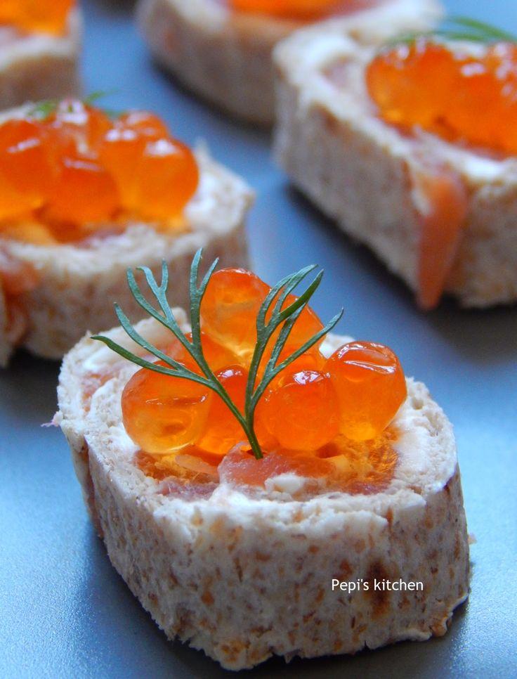 Salmon Pinwheels with Salmon Roe + A Healthy Dinner for 4  http://pepiskitcheninenglish.blogspot.gr/2015/01/salmon-pinwheels-with-salmon-roe-healthy-dinner-for-4.html