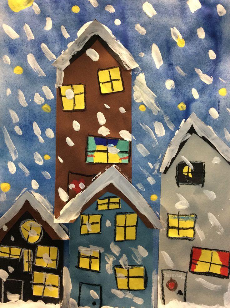 Väripaperista talot, vesiväritausta,lumihiutaleet pullovärillä