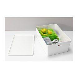 IKEA - KUGGIS, Låda med lock, 37x54x21 cm, , Perfekt för hobbyprylar, speltillbehör eller andra saker som tar stor plats.Enkel att lyfta och bära eftersom lådan har handtag på två sidor.Om du vill ha både små och stora saker i lådan kan du komplettera med insatsen KUGGIS.Lådan är smidig att dra ut, även om den står i en grund hylla, eftersom den har ett extra litet handtag på sidan.Du kan enkelt stapla de olika storlekarna eftersom de är måttanpassade till varandra.