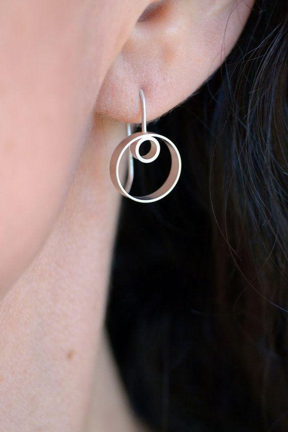Petra Earrings - Silver Drop Earrings, Geometric Earrings, Minimalist Earrings, Circle Earrings, Hoops, Modern Earrings, Two Circles