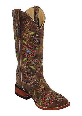 Womens-Ferrini-Brown-Blossom-Choc-Cowhide-Leather-S-Toe-Western-Boots