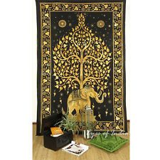 LARGE SELECTION - TWIN HIPPIE INDIAN MANDALA ELEPHANT TREE of LIFE WALL TAPESTRY