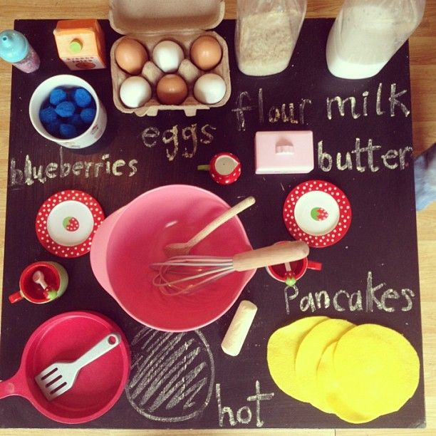 """Lovely invitation to play 'pancake making' by The Imagination Tree - toy food, pretend milk & flour, felt pancakes & pom-pom blueberries ("""",)"""