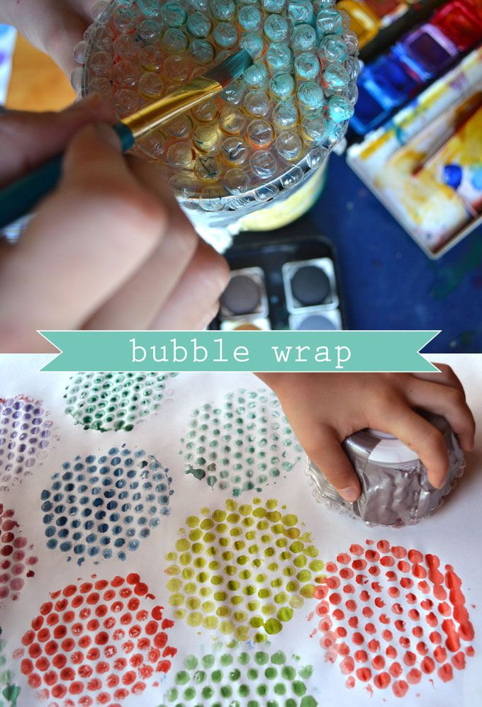 Bubble Wrap Printing--My idea: Have each child make one print or two (experiment with different sizes/shapes), cut out then mount in a pattern on sturdy board and frame.