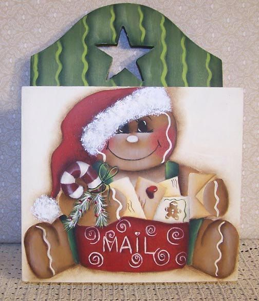 Gingerbread Christmas Mail holder Painting by Paintingonjars, $6.00
