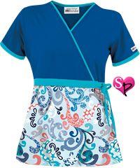 UA+Spring+Swirl+Blue+Print+Mock+Wrap+Scrub+Top