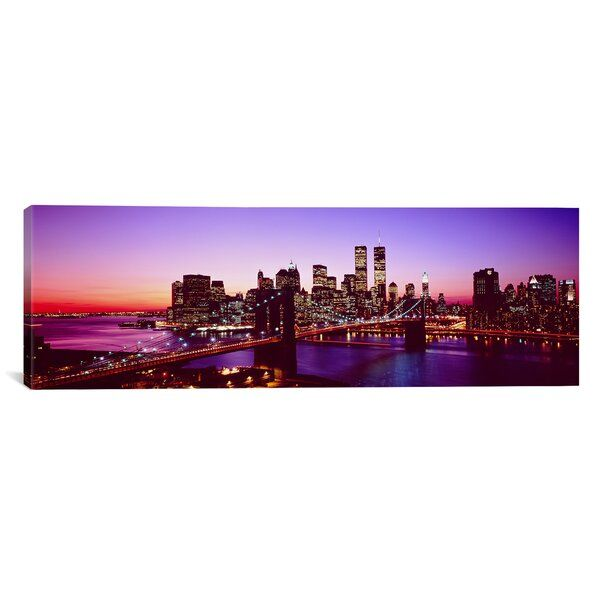 Usa New York City Brooklyn Bridge Twilight Wrapped Canvas Print Panoramic Images Great Big Canvas Panoramic Photo