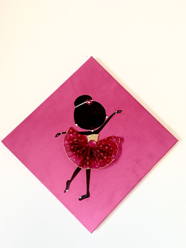 Ballerina canvas. Silhouette of a dancing ballerina decorated with ribbons and rhinestones.