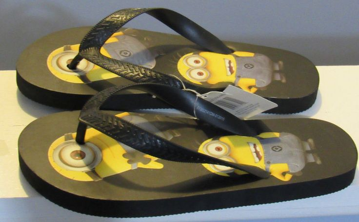 Kids Flip Flops Despicable ME Minions Size 2/3 OR 13/1 Cushy insole Flexible NWT #LittleMakers #FlipFlops