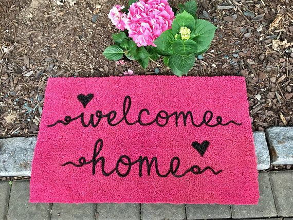 Welcome Home Hot Pink Door mat Custom Door Mat Welcome Mat